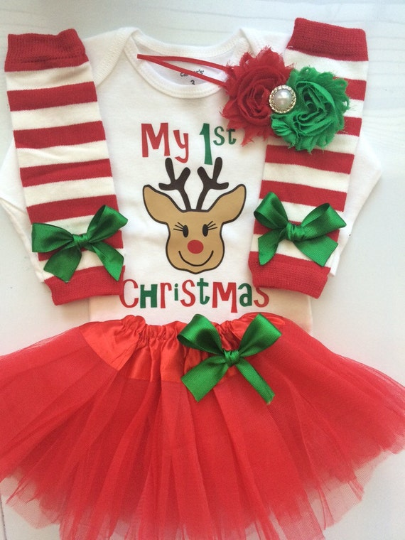 Baby Girl 1st Christmas outfit Newborn and 3 month My first