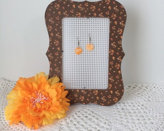 Earring Holder - Calico Cutie Decoupaged Picture Frame Earring Holder