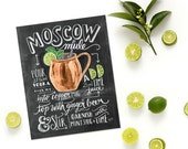 Moscow Mule Print - Chalk Art - Recipe Print - Cocktail Art- Bar Cart Art - Chalkboard - Chalkboard Art - Kitchen Chalkboard Art