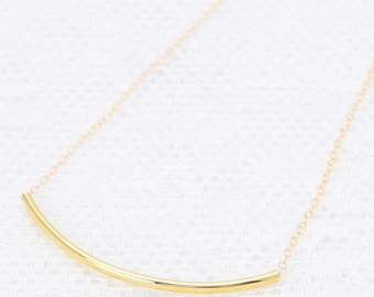 Long curved bar necklace delicate gold tube necklace dainty layered gold filled jewelry.