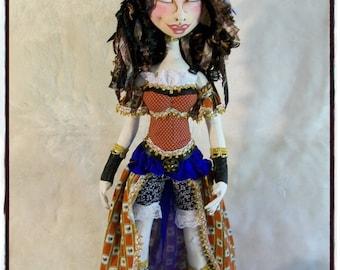 Cloth Doll - Cloth Art Doll - Steam Punk Doll - Art Doll - OOAK doll - Fiber Art Doll - Soft Doll - Decorative Doll - Fabric Doll -