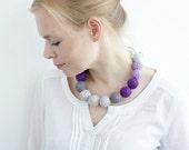fabric long necklace for women boho rustic lilac purple gray