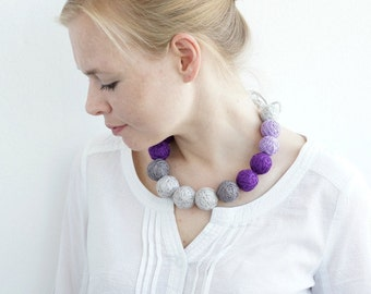 fabric long necklace for women boho rustic lilac purple gray