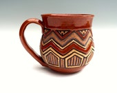 Rustic AZTEC POTTERY MUG - Large Hand Carved - 14 oz - Stoneware - Sienna, Brown, Tan - Chevron Triangle and Zig Zag - Unique