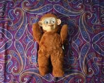 1930s Knickerbocker Bear Brand Stuffed Animal Of Distinction. RARE Vintage Rubber Face Monkey Stuffed Animal. Antique Teddy Bear.