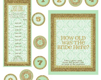 "Instant download - Bridal Shower / Bachelorette Party Game - How old is the bride here - MINT GOLD - 8X10"" Frame Opening"