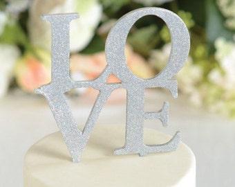 Wedding Cake Topper LOVE Wedding Cake Topper Silver Glitter Cake Topper Cake Topper Cake Wedding Topper LOVE Topper for Cake Decoration