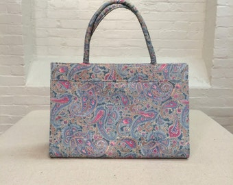 vintage Margaret Smith handbag // blue pink paisley fabric purse tote bag // 1970s