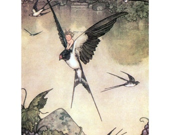 Thumbelina Rides Swallow Fabric Block | Hans Christian Andersen Fairy Tale | Heath Robinson