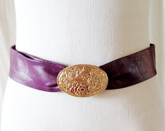 Vintage Purple Leather Gold Filigree Belt Buckle
