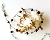 Triple Strand Necklace With Plum Beads and Swarovski Crystals Handmade
