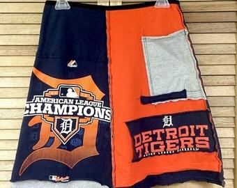 Detroit Tigers skirt / Women's upcycled clothing / upcycled skirt / Sports skirt / baseball