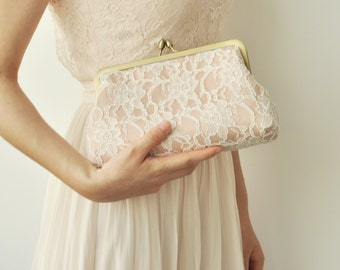 Peach Lace bridesmaid clutches, Wedding Clutch, Personalized Bridesmaid Gift, Party Clutch, Bridal Clutch, Evening clutch, Silk, Style C004