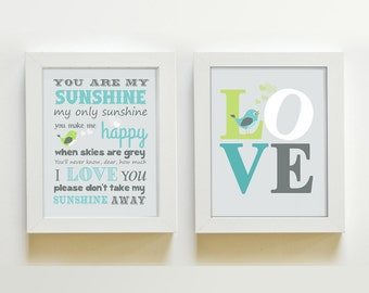 Nursery art You Are My Sunshine My only Sunshine Print - LOVE Art for Kids Room, Kids Wall Art, Baby Boy room decor