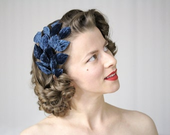 "Navy Leaf Headband, Navy Fascinator, Leaves Hair Accessory, Navy Headpiece, 1950s Vintage Women Hair Band Blue - ""On the Wings of Midnight"""