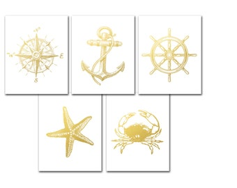 Coastal Print Set, Gold Foil Print Set of 5, Nautical Prints, Compass, Anchor, Crab, Starfish, Beach Art, Nautical Art, Coastal Decor