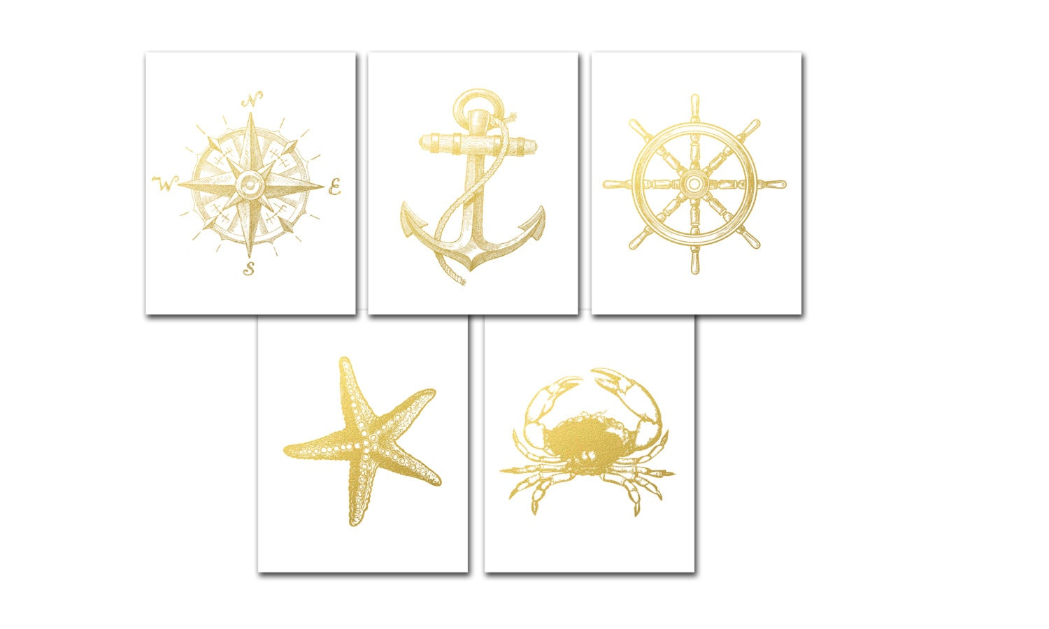 Nautical Gold Foil Print Set of 5 Nautical Prints Compass