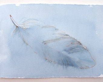 Baby blue feather painting. Watercolor paintings original only. Small watercolors 7,5/11. Birthday gifts for her. Feather illustration blue