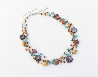 Blue brown necklace, stone, turquoise, freshwater pearl, crystal, shell on silk thread