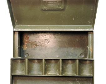 Green Tool Box, Vintage Metal Box, Rustic Green Tackle Box