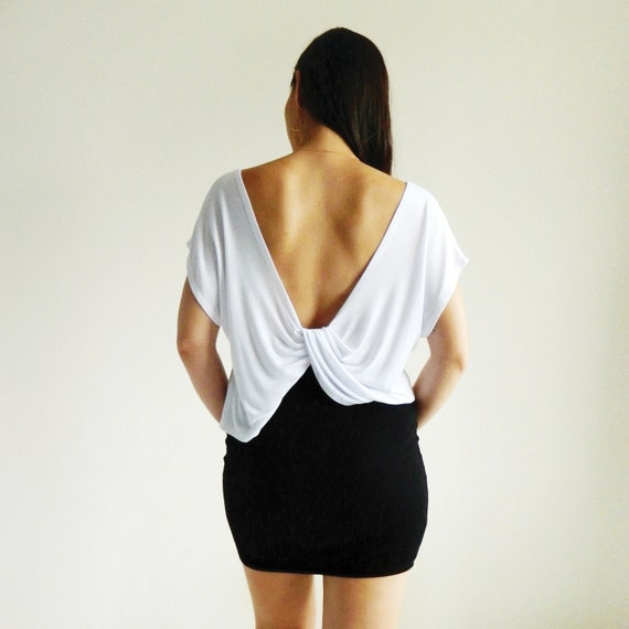 Christie White Twist Back Crop Top / Cropped Tee / Crop TShirt / Low Back Top / Short Sleeve / Mint Top / Spring Fashion / Summer Fashion