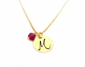 Gold Initial Necklace - Birthstone Necklace - Gold Initial Disc Necklace - Personalized Necklace - Initial Charm Necklace - Letter Necklace