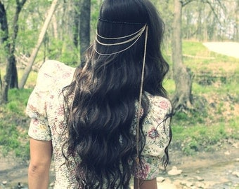 Feather Hair Accessories, Hair Chain, Bohemian Hair Jewelry, Feather Hair Extensions, Chain Headpiece, Boho Jewelry