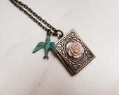 Book Necklace - Antique Inspired Book Locket with Verdigris Bird