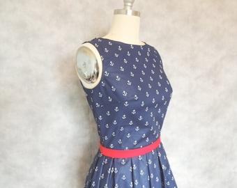 Anchor Dress - Nautical, Navy Blue, Sailor, Boat Neck,  Vintage Inspired, Womens Dress
