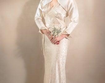 Vintage 1930s Silk Bias Cut Wedding Dress, ivory with lace detail & self belt - Gatsby Downtown Abbey
