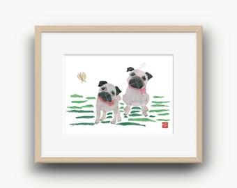 Pug Art, Pug Dog, Pug Gift, Pug Print, Pug Decor