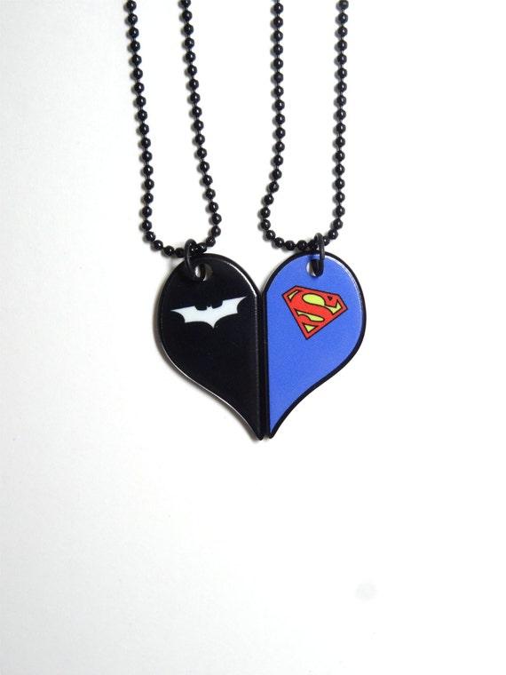 Batman And Superman Half Heart Necklace Set