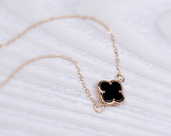 "Gold clover necklace, four leaf clover, turquoise necklace, black necklace, long gold necklace, bridesmaid gift, gold filled, ""Musica"""