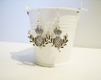 Silver thistle charm earrings - flower metal earrings - flower jewelry - thistle jewelry - flower themed - thistle charms - Scottish thistle