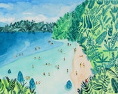 "Art Print of watercolor painting ""Paradise"" by Helo Birdie - Beach - tropical - travel - nature - summer - landscape"