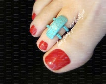 NEW! Toe Ring - Turquoise Crackle Stone Stretch Bead Toe Ring