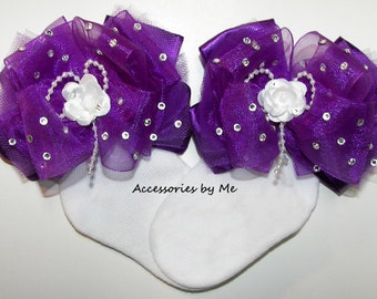 Over the Top Socks, Glitz Pageant Socks, Purple Tutu Socks, Organza Satin Tulle Floral Pearl Bows, Infant Baby Girls Embellished Accessories