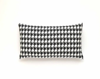 """Decorative Houndstooth Lumbar Pillow Cover - Black and White - 12"""" x 20"""""""
