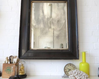 Vintage Extra Large Victorian Bevelled Edge Wall Mirror with Black Wooden Frame