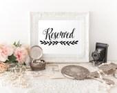 Wedding Reserved Sign, Printable Reserved Sign, 4x6, Reserved for guest sign, reception sign, reserved sign, Instant Download, RS07