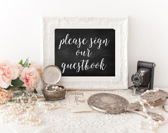 Please Sign Our Guestbook Wedding Sign, Printable Wedding Guest Book, Guestbook Sign, Chalkboard Guestbook Sign, Instant Download, PSGBC01