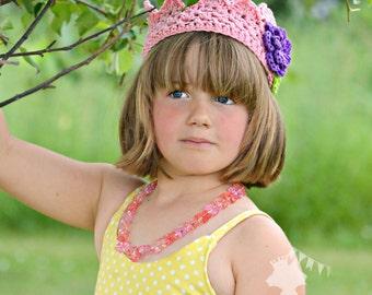 CUSTOM Girls Flower Crown  Crochet Crown  Flower Princess Crown  Boutique Birthday Crown  MADE to ORDER