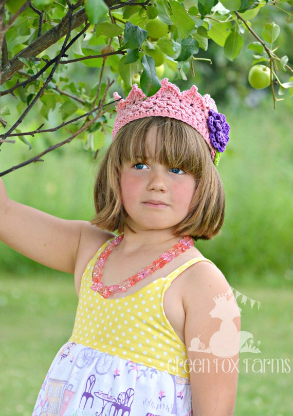 Girls Flower Crown, Pink Birthday Crown, Girls Crochet Crown, Flower Princess, Flower Girl Crown, Princess Birthday, 1st Birthday Crown