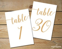 Instant Download Printable Table Numbers 1-30 // Bella Script Gold Table Number, Gold Wedding Decor // 5x7 and 4x6 Table Numbers Wedding