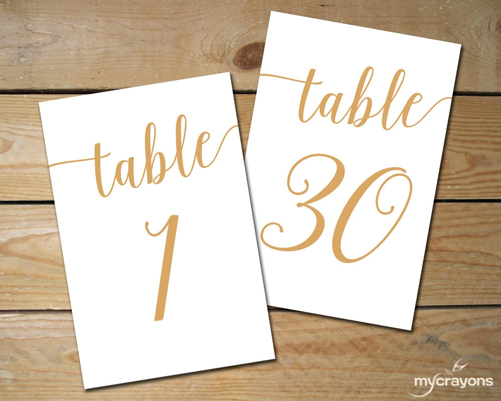 Instant download printable table numbers 1 30 by for Table numbers
