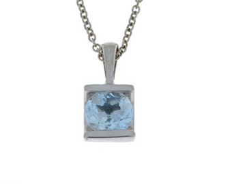 1 Ct Natural Aquamarine Round Pendant .925 Sterling Silver
