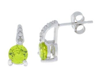 1 Ct Peridot & Diamond Stud Earrings .925 Sterling Silver Rhodium Finish