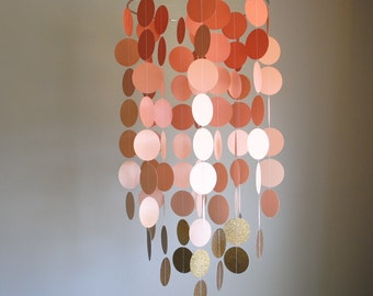Coral/Peach/Gold Chandelier Mobile// Nursery Mobile - Choose Your Colors