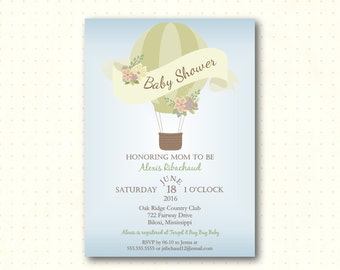 Baby Shower Invitation, boy, blue, hot air balloon, up up away, sip n see, sprinkle, gender reveal, modern, digital printable invite B50654