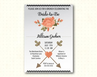 Bridal Shower Invitation, bridal tea, brunch, lunch, flowers, bride to be, peach, gray, simple, modern, digital, printable invite BW20552